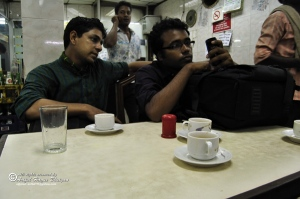 We taking tea in hotel