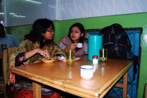 Samia (left) taking breakfast & Adiba (right) is happy with tea